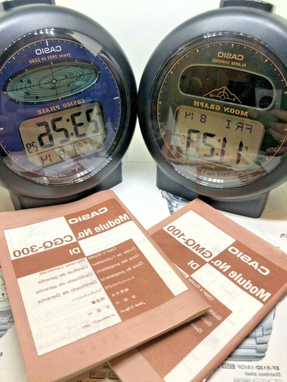 Casio moon & CGQ300 Cosmo Phase alarm japan Combo