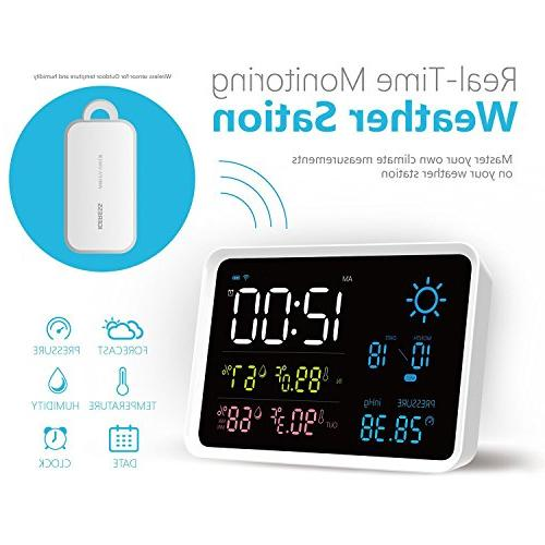 IGERESS with and Wireless Hygrometer Weather Forecast Alarm Clock
