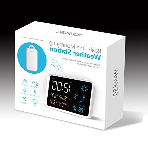 IGERESS Station with Indoor Wireless Sensor Barometers Hygrometer Forecast Monitoring Alarm Clock
