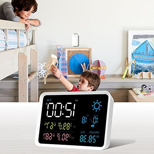 IGERESS Multifunctional with Indoor and Wireless Barometers Thermometer Hygrometer Weather Alarm