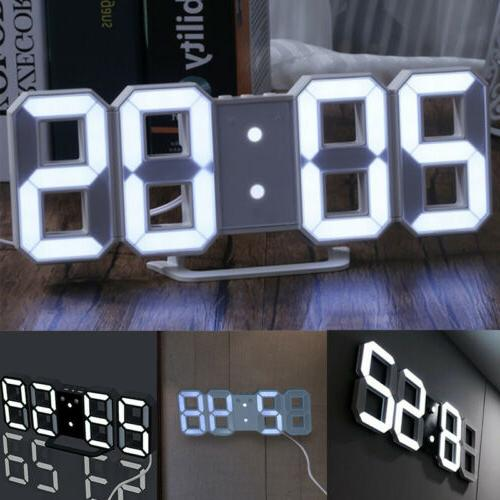 new digital 3d led wall clock alarm