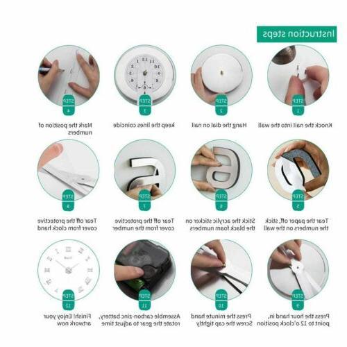 Large Clock Surface Sticker Home Decor