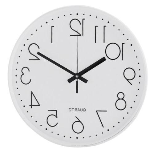 Modern 12 Inch Round Large Wall Clock Silent Quartz Non-tick
