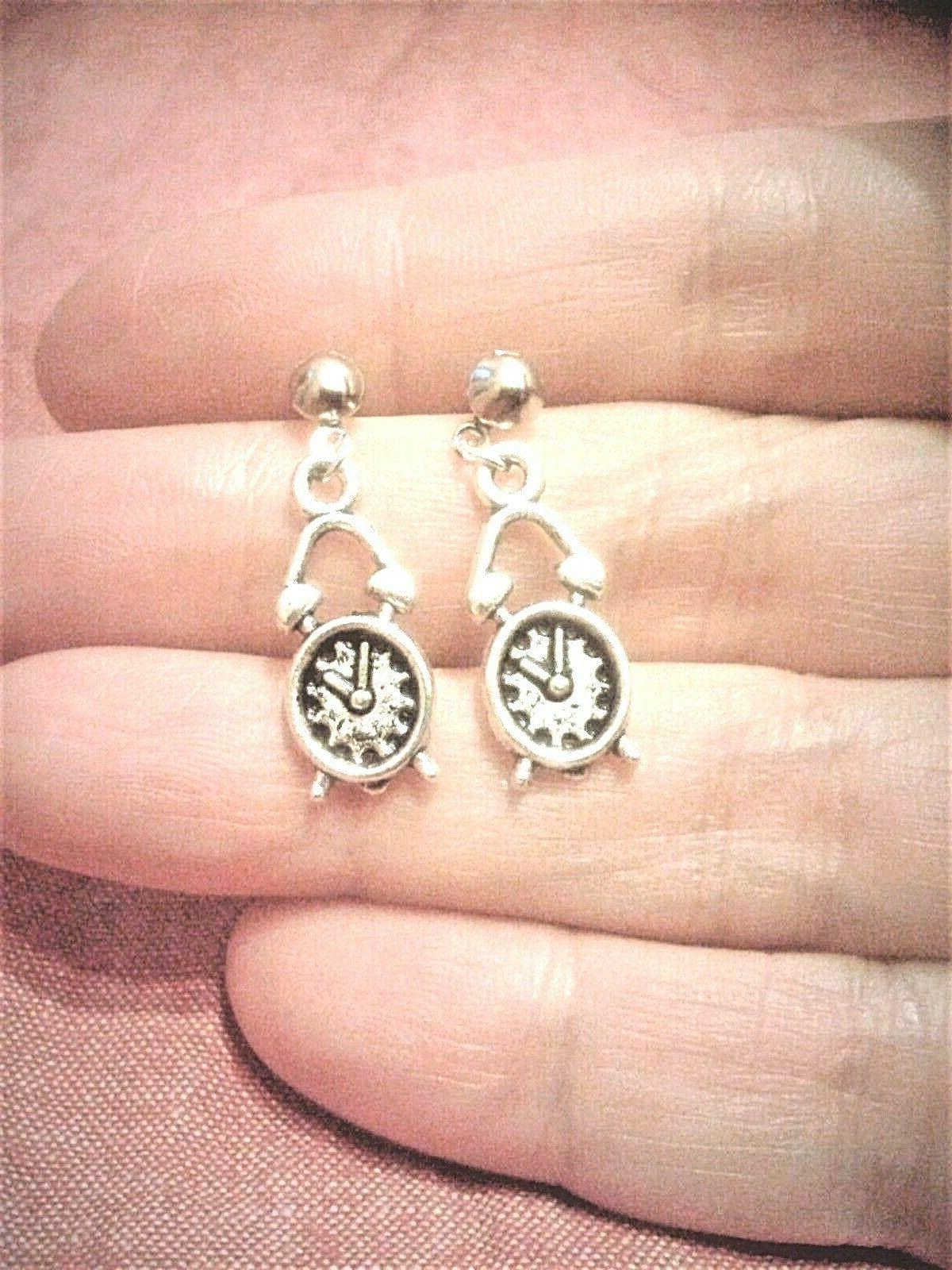 quirky steampunk alarm clock charm earrings boho