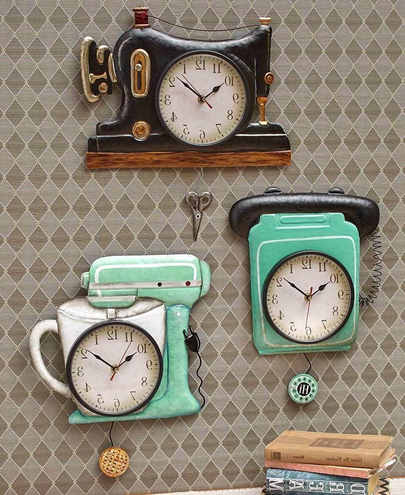 retro metal pendulum kitchen wall clocks sewing