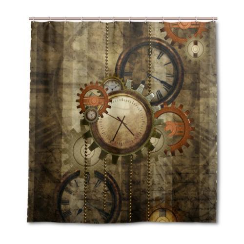 ALAZA Retro Steampunk Clocks and Gears Shower Curtain Custom