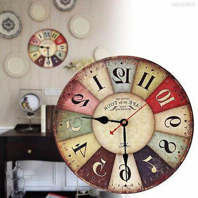 Retro Vintage Wall Clocks Quartz Clock Round No ticking Home