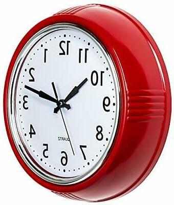 retro wall clock 9 5 inch red
