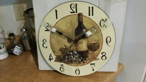 Round Wall Clock Retro Wine Home Wall