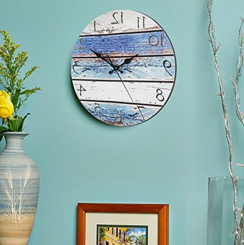 Bernhard Products Rustic Wall Silent Non Battery Operated, Look, Ocean Decorative