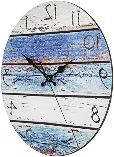 "Bernhard Wall Clock 12"" Round, Silent Non Ticking - Look, Vintage Shabby Ocean Paint Boards Nautical Decorative Clock"
