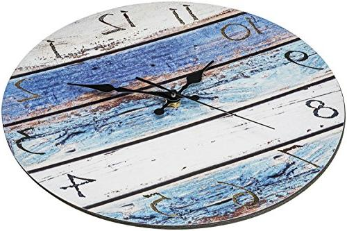 Bernhard Products Rustic Silent Ticking Battery Operated, Look, Ocean Decorative Clock