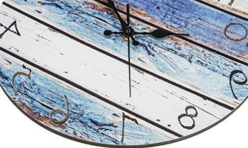 Bernhard Products Wall Silent Non Ticking Battery Wooden Look, Ocean Paint Boards Nautical Decorative