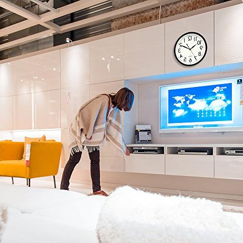 DreamSky Non-Ticking Quartz Wall Clock Decorative Clock,3D Numbers Display,Battery Operated Wall Clocks