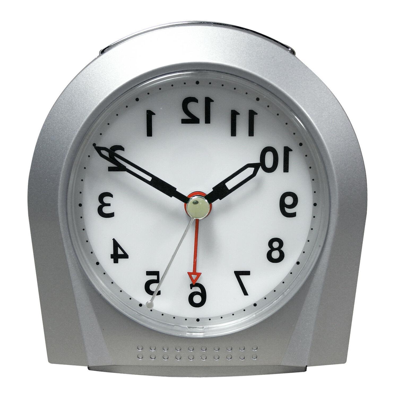 silver silent sweep analog alarm