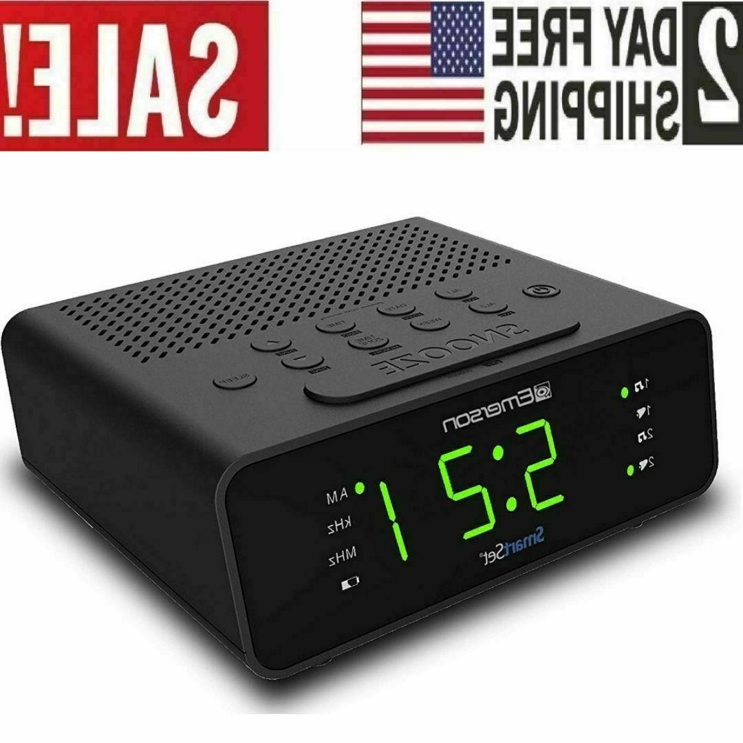 smart set alarm clock radio with am