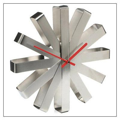 stainless steel ribbon wall clock available in