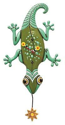 Allen Designs Sun Lizard Green Gecko Battery Wall Clock with