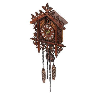 US Vintage Wood Clock House Swing Wall Decor