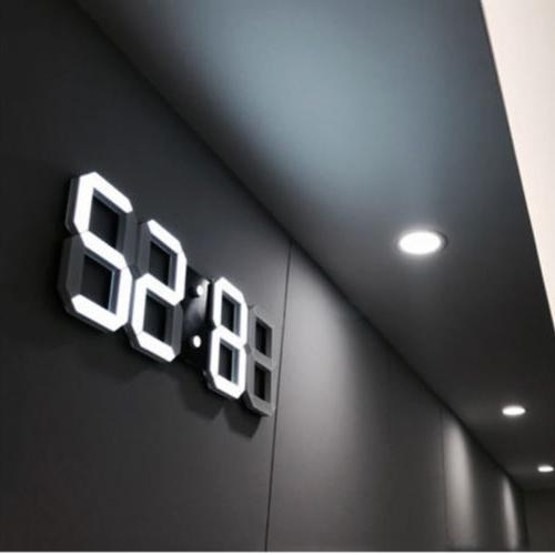 Digital 3D LED Wall Clock Alarm Snooze Watch 12/24 Hour Disp