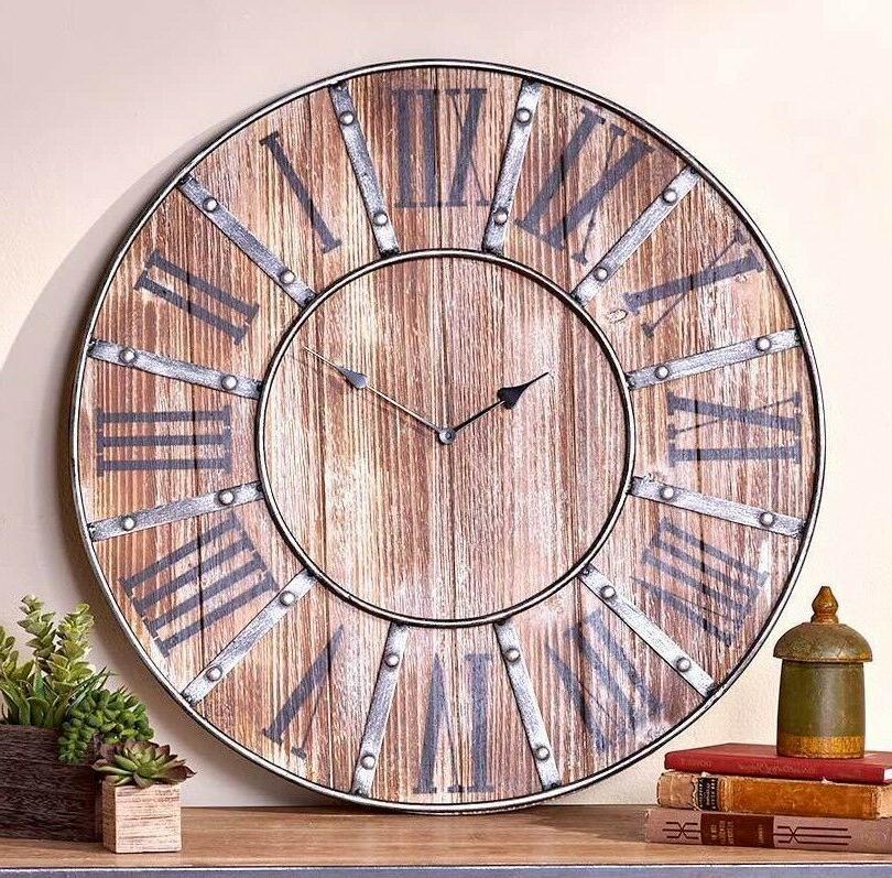vintage inspired rustic farmhouse roman numeral clock