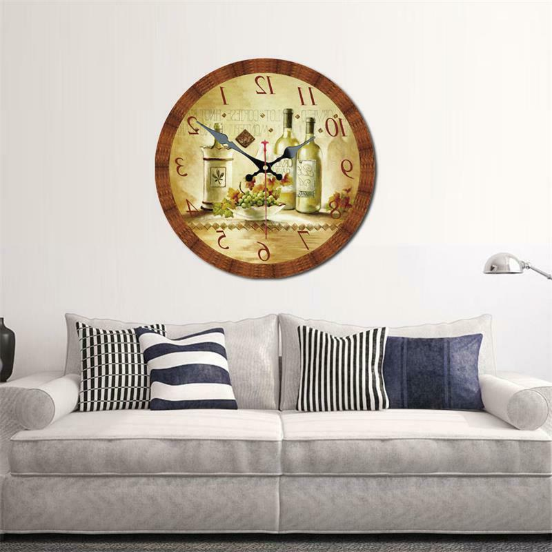 Vintage Round Wall Clock and Grape Decor