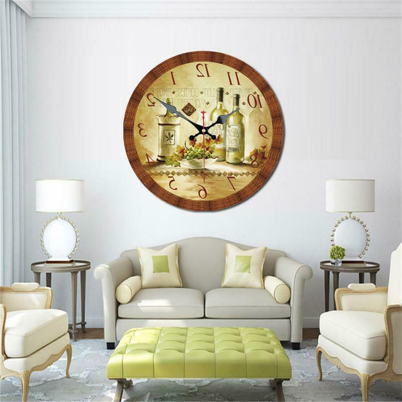 Vintage Round Clock Retro Wine and Grape Home Office Decor