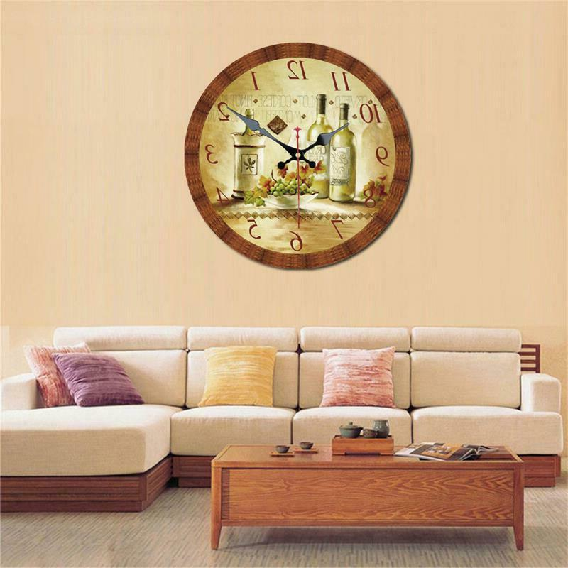 Vintage Clock and Grape Home Wall Decor