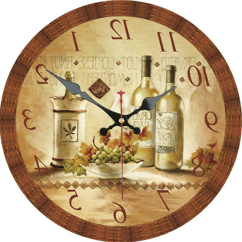 vintage round wooden wall clock retro wine