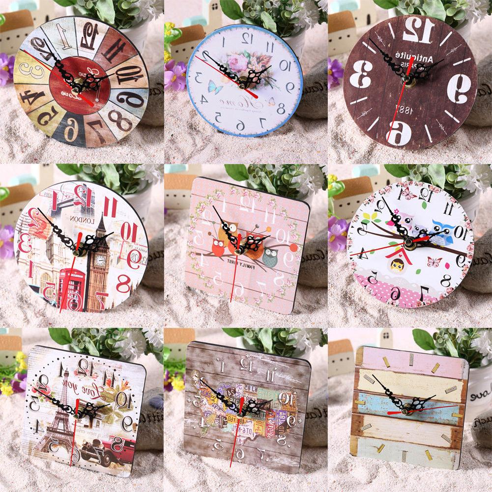Vintage Wooden Clock Large Shabby Rustic Kitchen