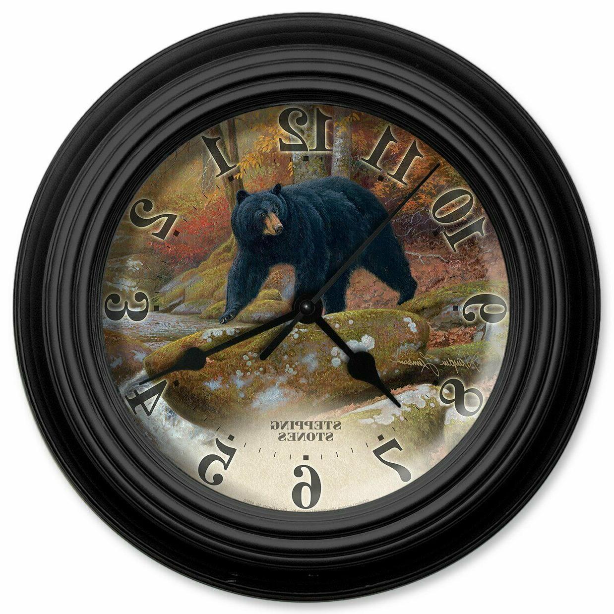 "Reflective Art Wall Clock Black Bear 10"" Hunter Wildlife Clo"
