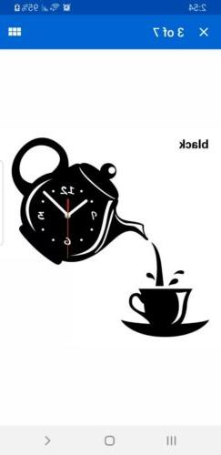 Wall Clock Coffee Cup Shaped Decorative Kitchen Wall Clocks