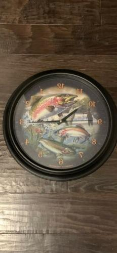 American Expedition Wildlife Trout 16 inch Wall Clock New In