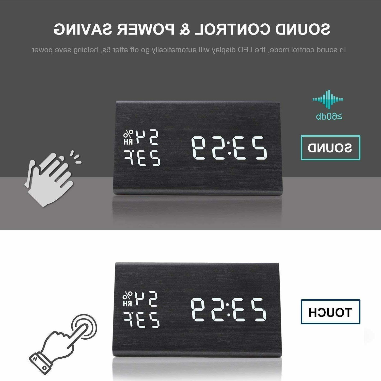 MEKO Wood Clocks for LED Display, Levels, Snooze