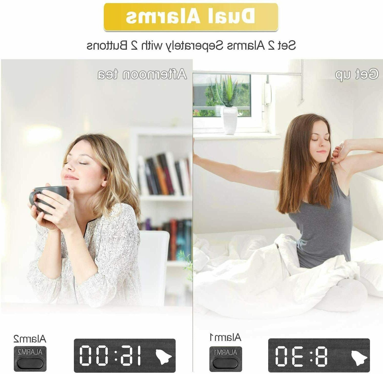 MEKO Wood Digital Alarm Clocks Bedrooms Larger LED 3 Snooze