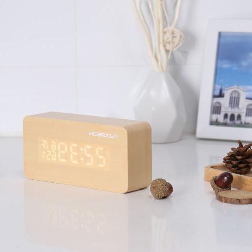 Wooden Desk Clock Temperature LED