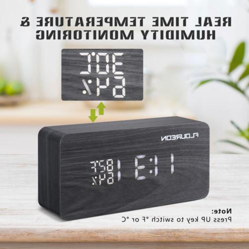 Wooden Desk Clock Temperature Humidity