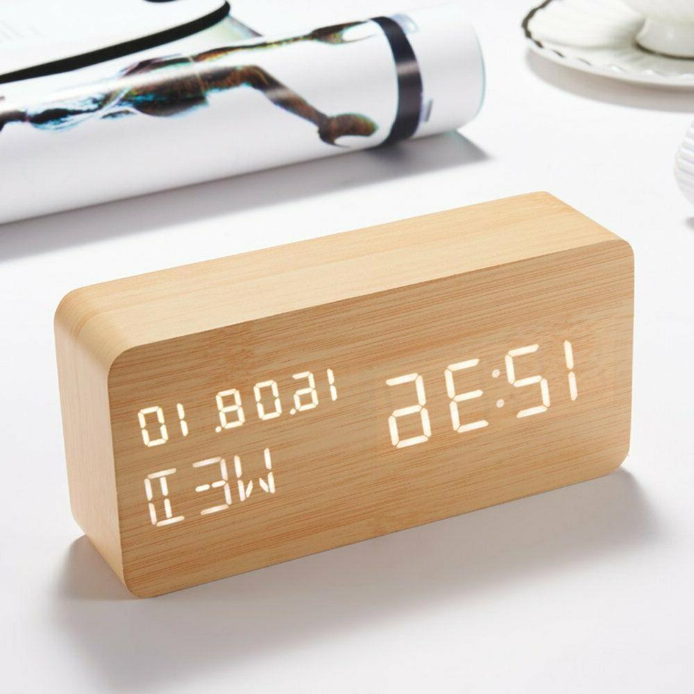 wooden led alarm clock electronic digital desk