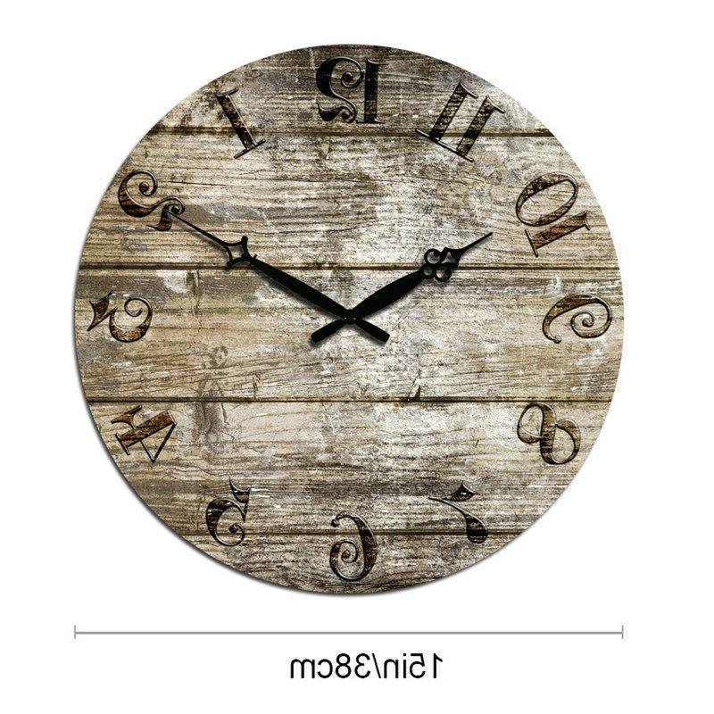 Wooden Wall Clocks Large Room Home Silent Decor Retro Clock