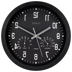 La Crosse 12 Inch Black Battery Wall Clock with Temperature