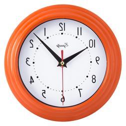"Equity La Crosse 25018 8"" Battery Operated Wall Clock Orange"