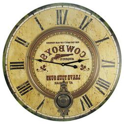 "LARGE 23"" Brass Pendulum Wood Clock LEAVE YOUR GUNS Huge Wes"