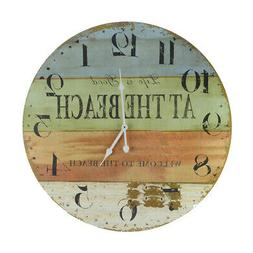 "LARGE 23"" Wood Clock- Life Is Good Welcome To the Beach-Huge"