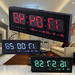 Large Big Jumbo LED Home Office Wall Desk Clock With Calenda