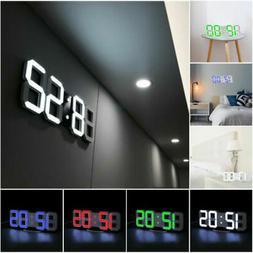 Large LCD 3D Digital LED Wall/Desk Clock USB 12/24 Hour Disp