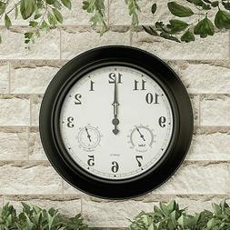 Large Metal 18 Inch Indoor Outdoor Wall Clock Hygrometer Tem