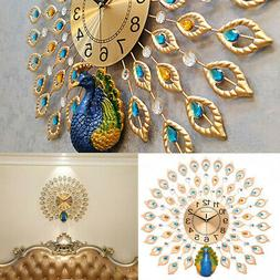 Large Metal Wall Clocks Luxury Peacock  Living Room Wall Wat