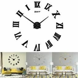 Large Modern Wall Clock 3D Roman Numerals Mirror Stickers Mu