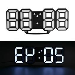 Large Multifunction Modern 3D Digital LED Wall Clock 12/24 H