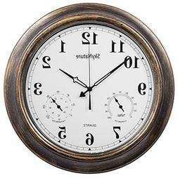 Large Outdoor Wall Clock Waterproof Temperature Humidity 18